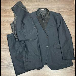 58 R Oscar de la Renta Black Tuxedo Coat Pant Shirt Vest Bow tie Complete Tux